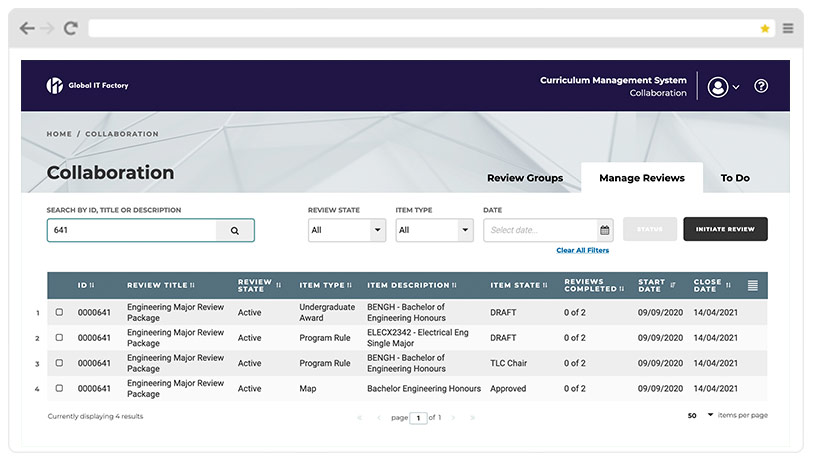 Curriculum Management System Screenshot - Collaboration Functionality