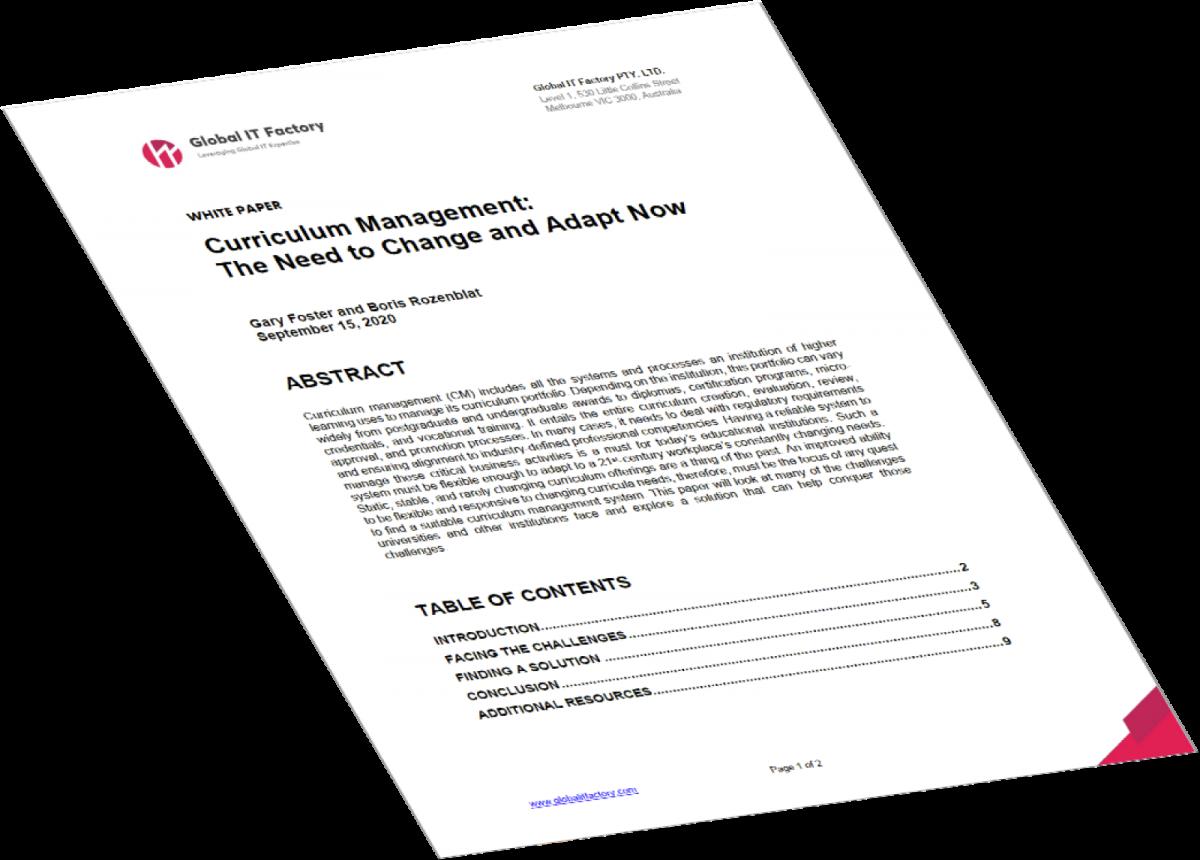 Curriculum Management White Paper